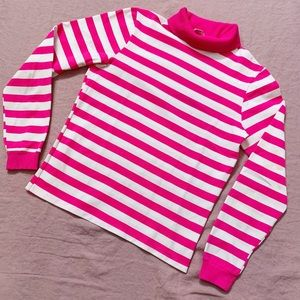 1960s Neon Pink and White Stripe Turtleneck